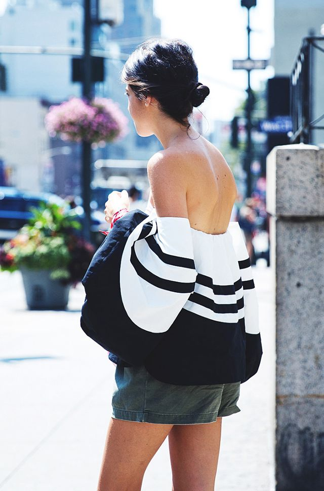 black off the shoulder top striped