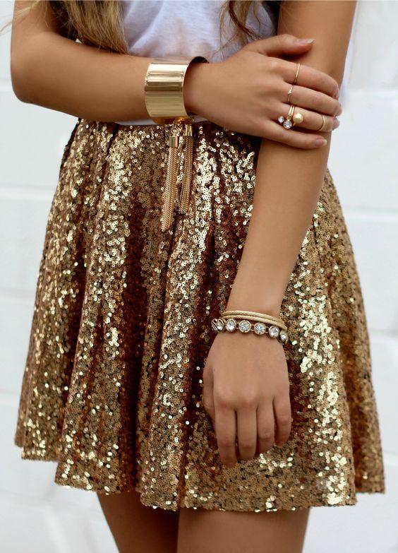 gold skirt sequins