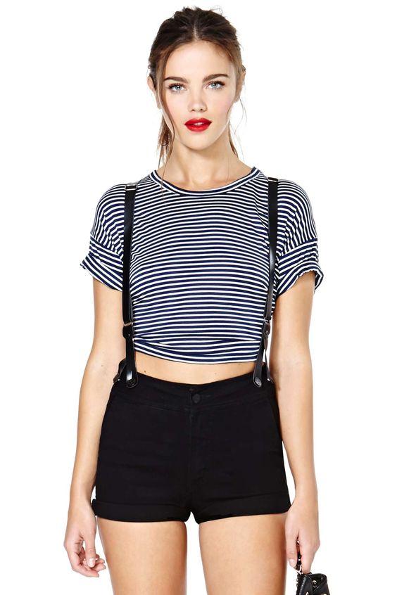 striped suspender shorts
