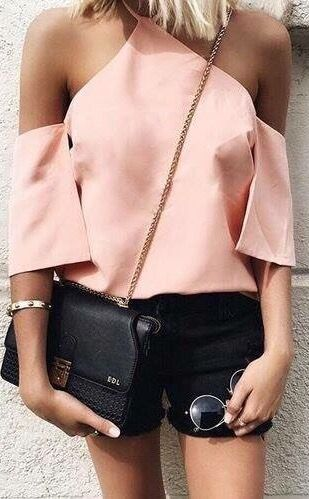 light pink top halter neck