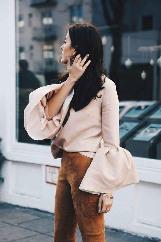 blush top bell sleeves