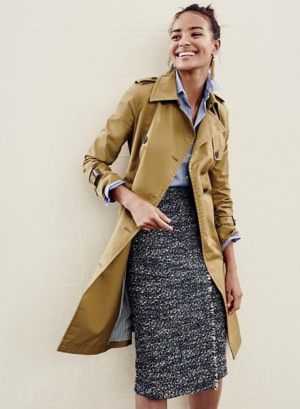 tweed skirt trench