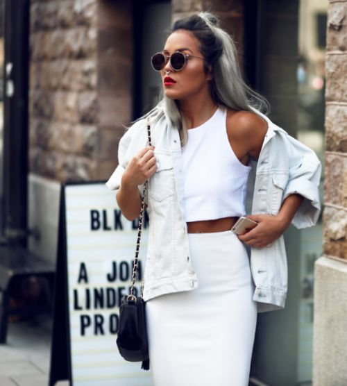 white denim jacket crop top