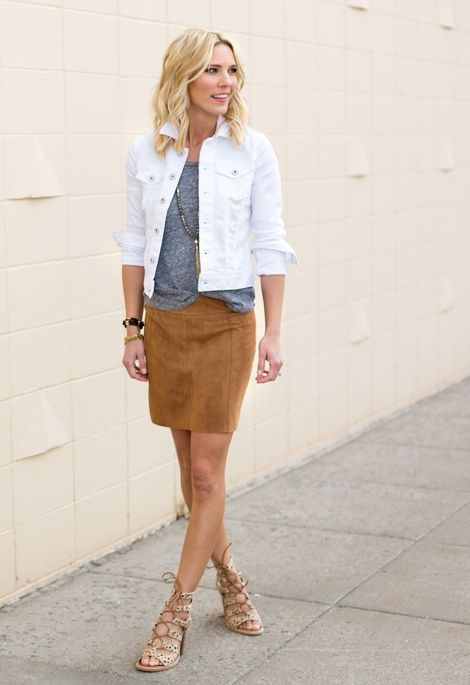 white denim jacket brown skirt