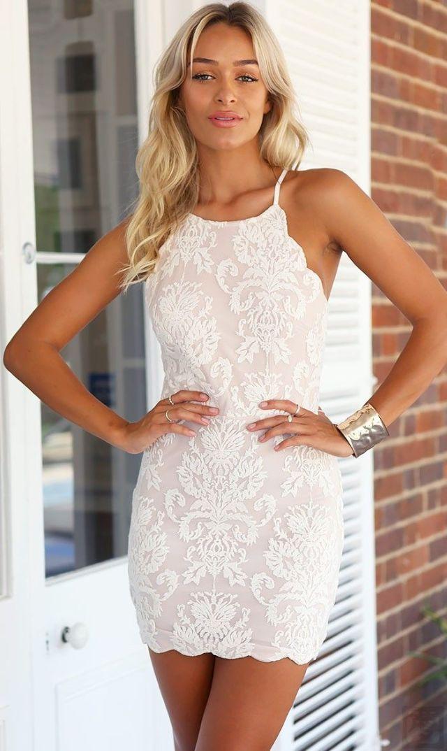 white halter lace dress mini