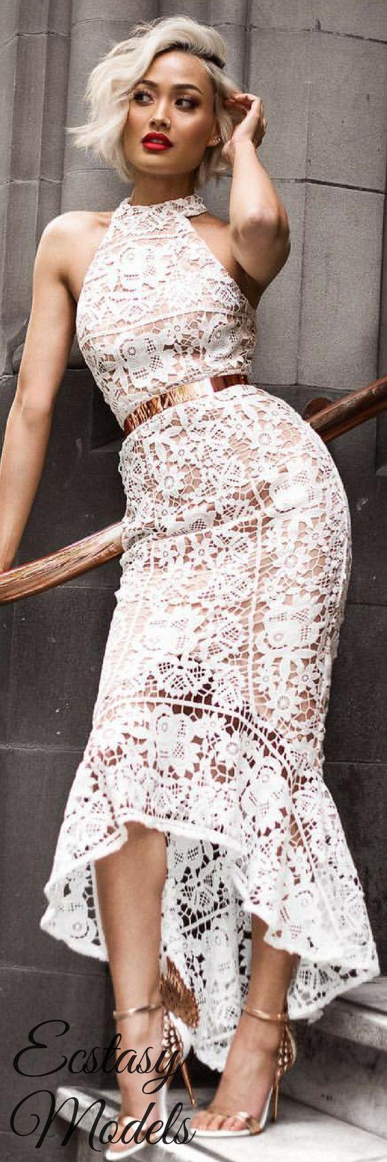 white lace halter dress midi