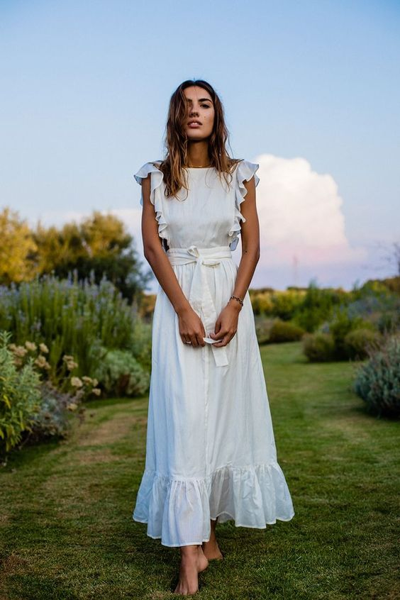 white ruffle maxi dress