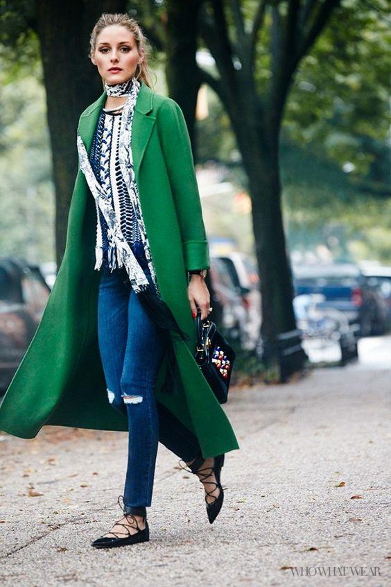 lace up flats green coat