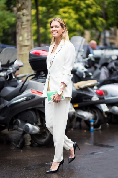 all white outfit blazer dress pants