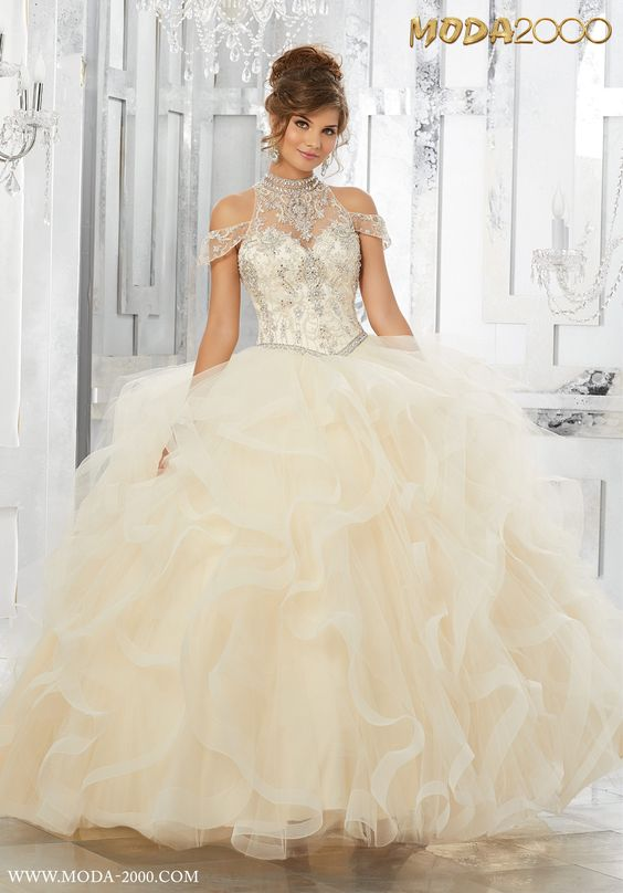 beige quinceanera dress ruffles