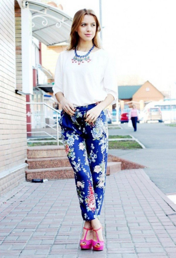 How to Wear Women's Printed Pants: Photos, Templates, Tips