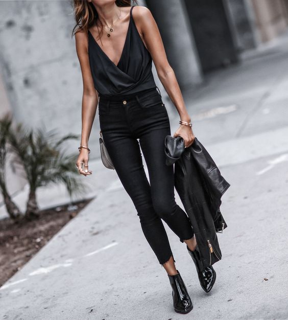 black booties jeans all black
