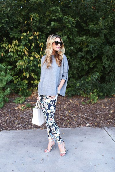 black floral printed pants bat sleeve sweater