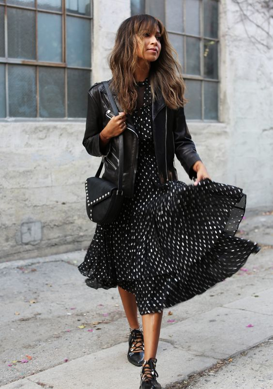 black leather jacket polka dot dress