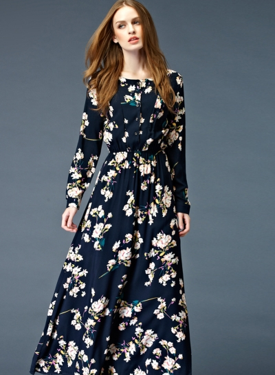 black long sleeve floral maxi dress