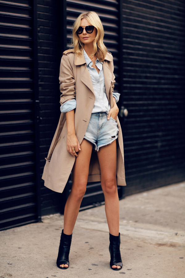 black open toe booties denim outfit trench coat