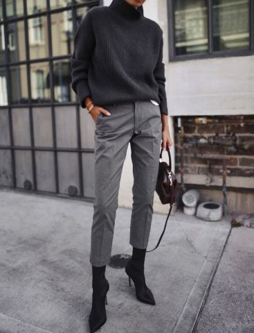 black turtleneck grey chinos