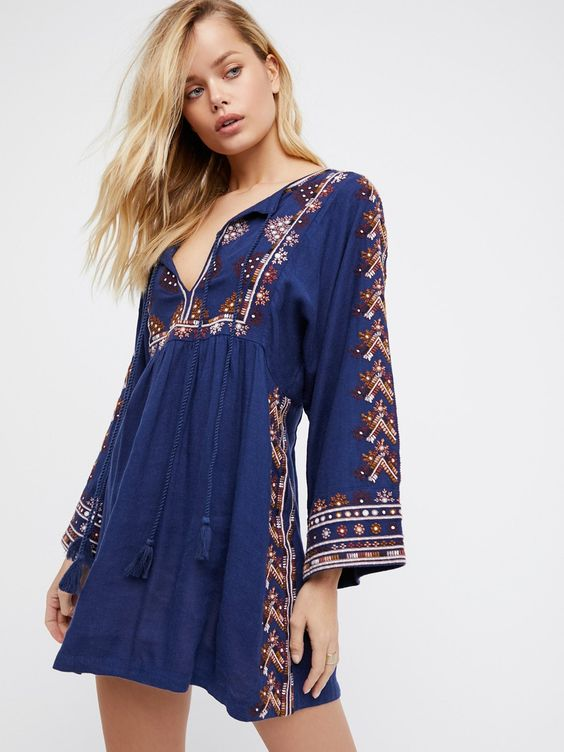 blue boho empire waist dress