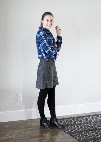 blue flannel shirt knee length skirt