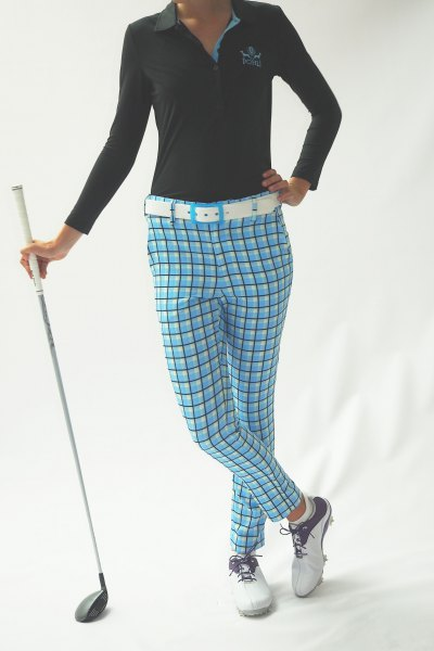 blue plaid golf pants black polo shirt