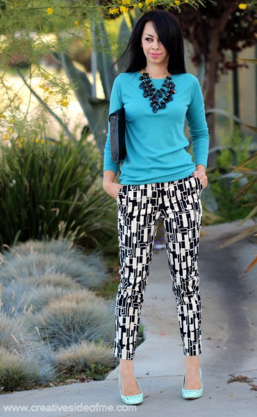 blue slim fit sweater printed pants
