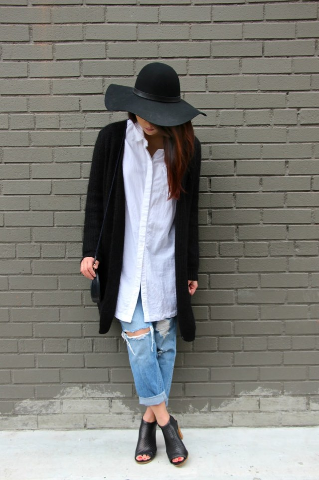 boyfriend jeans long sweater jacket open toe booties