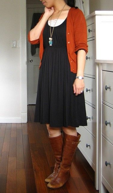 brown cardigan empire waist dress