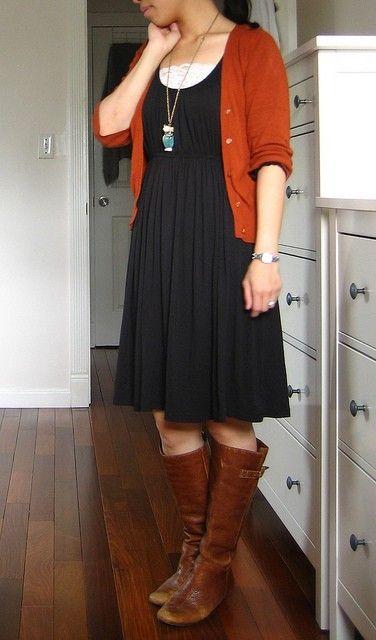 brown cardigan empire waist dress