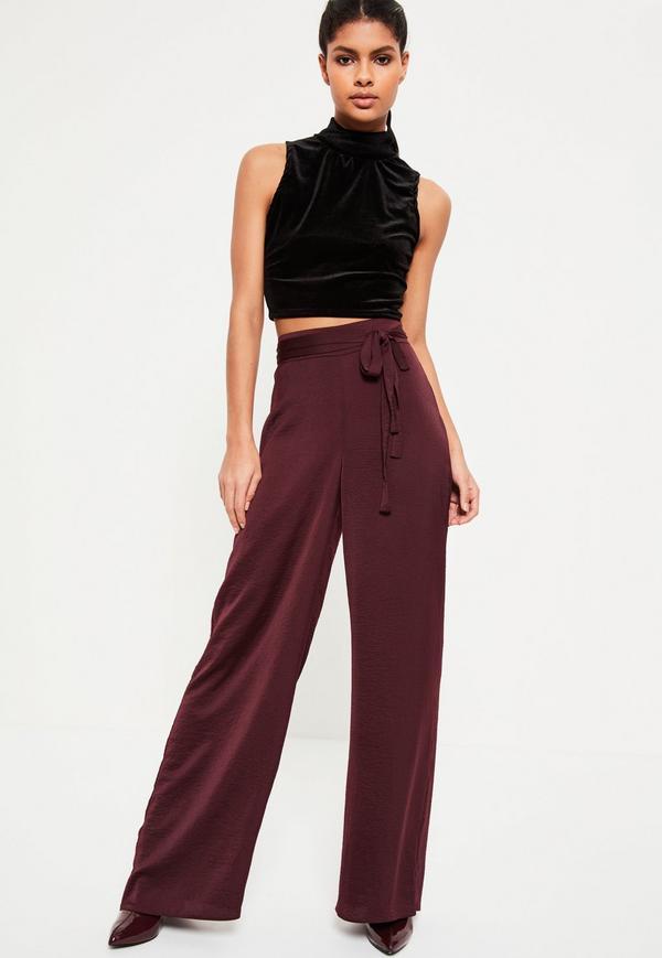 brown tie belt wide leg pants crop top