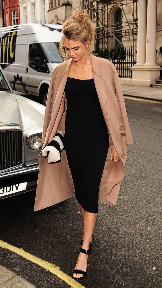 camel coat black bodycon dress