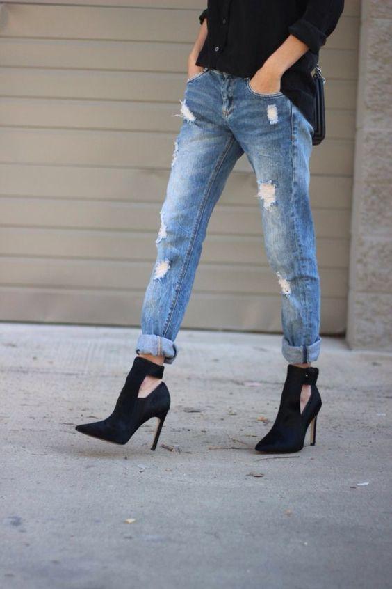 cut out short boots high heel