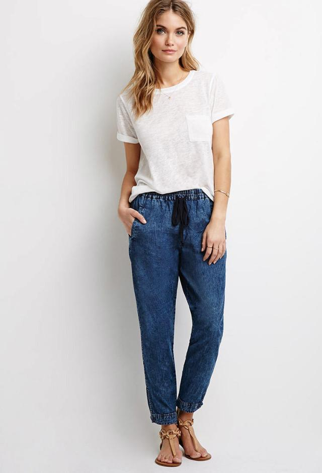 denim joggers pants with white tee