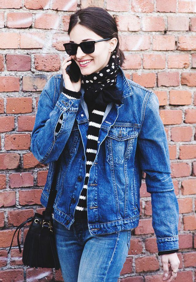 denim on denim scarf striped