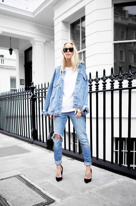 denim on denim white tee