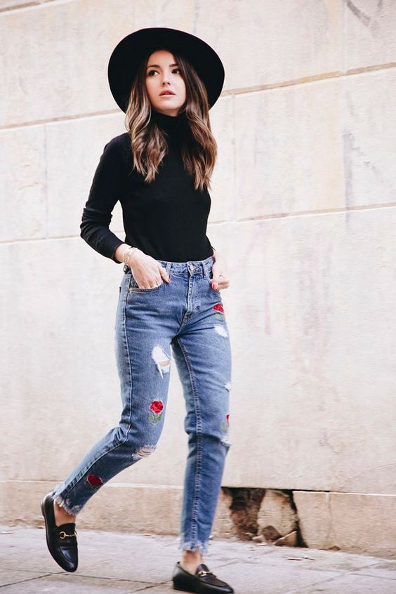 embroidered jeans black turtleneck