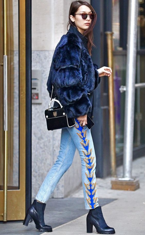 embroidered jeans fur coat