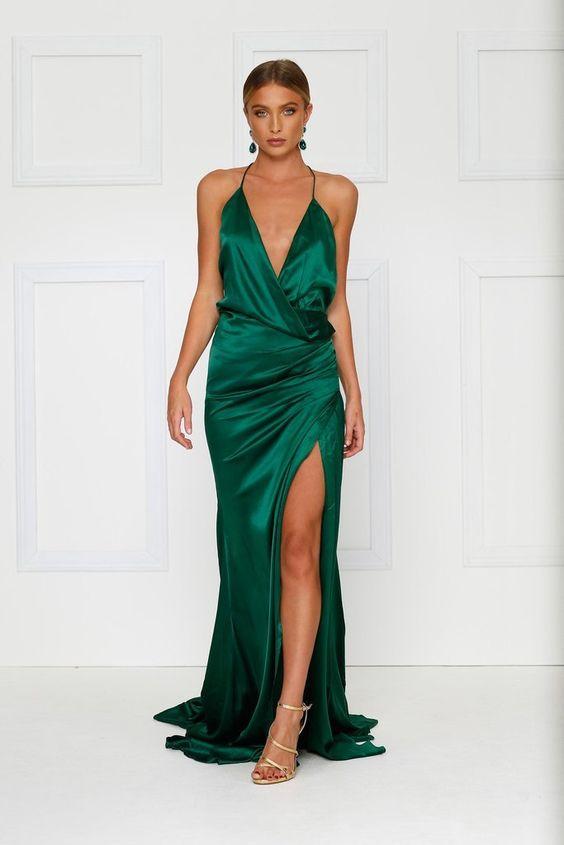 emerald green dress slit