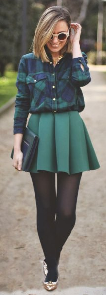 flannel shirt pleaded mini skirt