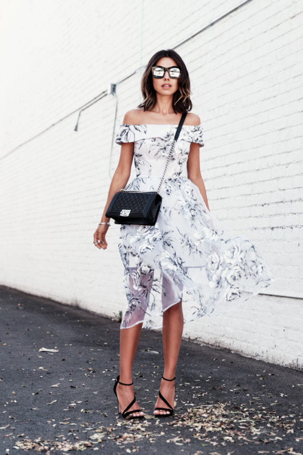 floral off the shoulder dress white