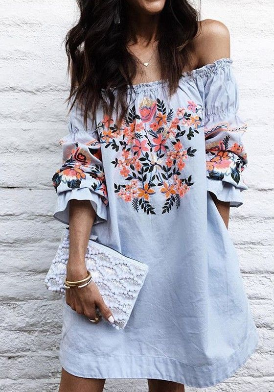 floral off the shoulder dress blue