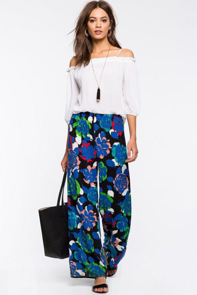 floral wide leg pants white cold shoulder blouse