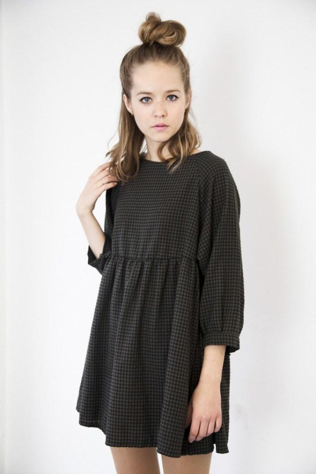 gingham empire waist dress