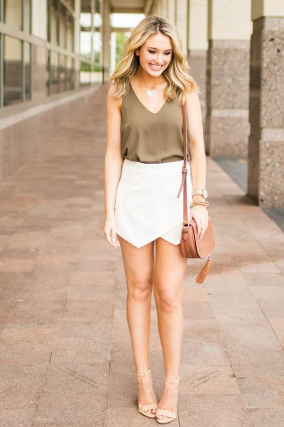 green tank top white skort