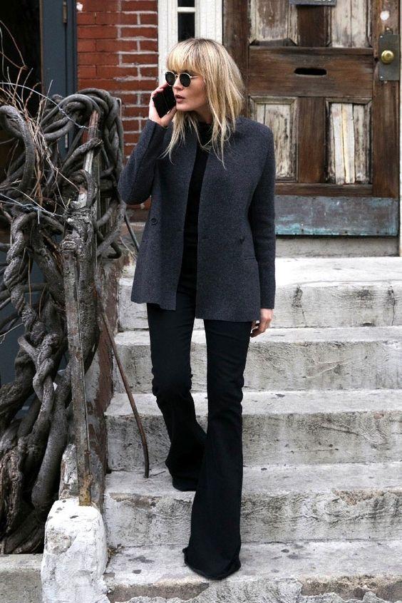 grey coat black bell bottom jeans