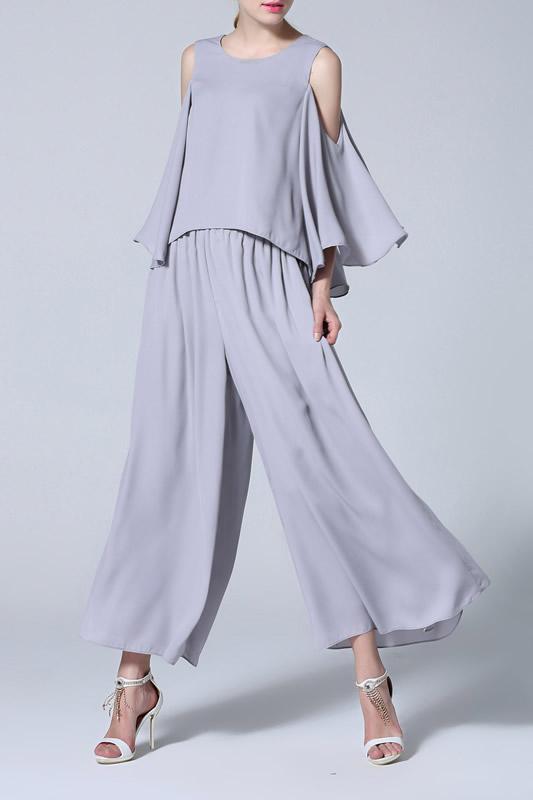 grey cold shoulder blouse pleaded wide leg pants