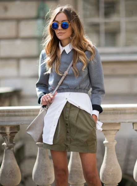 grey cropped sweater white button up shirt