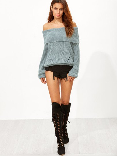 lace up knee high boots off shoulder green knit sweater