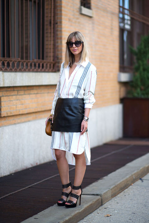 leather skirt over long shirt dress