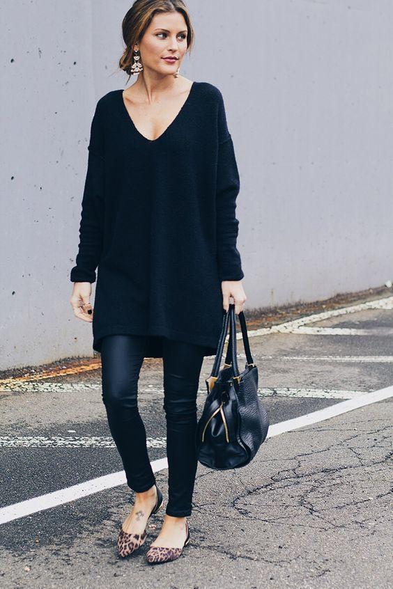 leggings to work black tunic