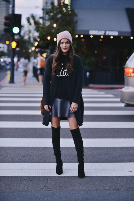 long cardigan sweater mini skirt outfit